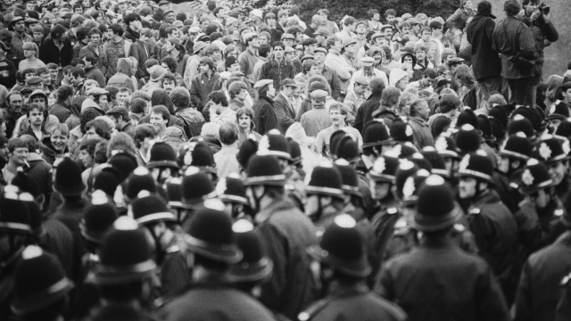 Police and miners at a demonstration at Orgreave Colliery, South Yorkshire, during the miners' strike