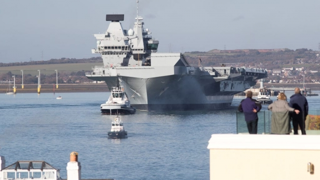 The £3bn HMS Queen Elizabeth aircraft carrier sets sail from Portsmouth last month for sea trials.