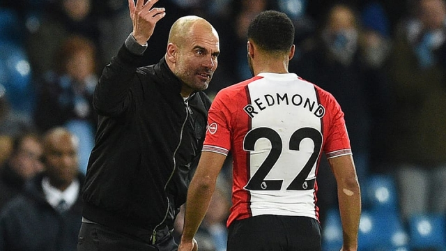 Pep Guardiola remonstrated with Southampton's Nathan Redmond at full time