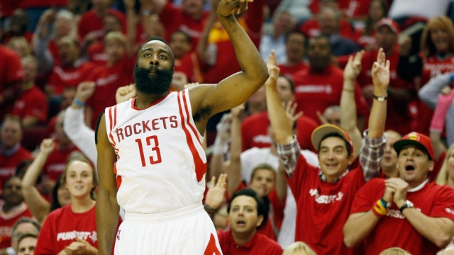 James Harden takes another three-point shot for the Houston Rockets. The club have set new records for such attempts - and have reaped the benefits (Getty Images)