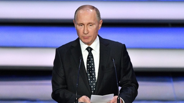 Russian President Vladimir Putin speaks prior to the start of the Final Draw for the 2018 FIFA World Cup in Moscow where England drew Belgium, Panama and Tunisia (Photo: Getty)