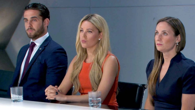 Harrison, Sarah and Jade in the boardroom - The Apprentice