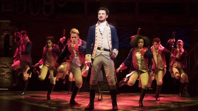 Jamael Westman (Alexander Hamilton) with West End cast of Hamilton (photo credit Matthew Murphy)