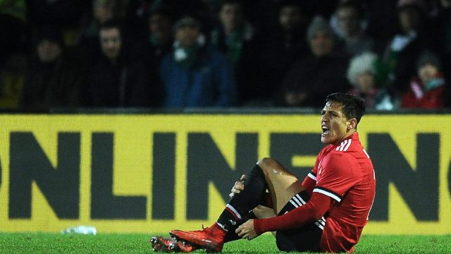 Alexis Sanchez was clattered from behind on his Manchester United debut (Getty Images)