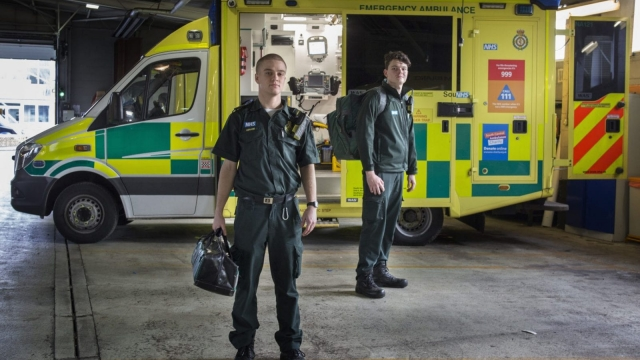 Gerard Pyc, left, and Jason Robinson, trained and studied in their native Australia to become paramedics before moving to England and finding work in the NHS.