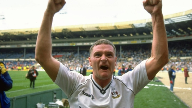 Paul Gascoigne celebrates Tottenham Hotspur's Wembley win over Arsenal in the 1991 FA Cup semi-final