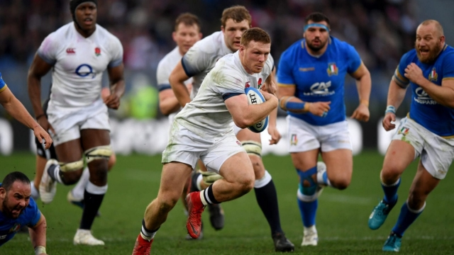Sam Simmonds had a Six Nations debut to remember, running in two tries from No 8 (Getty Images)