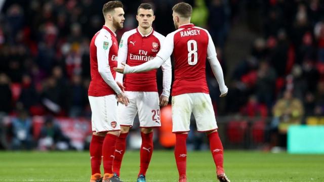 Arsenal Manchester City League Cup Carabo Final midfielders Granit Xhaka