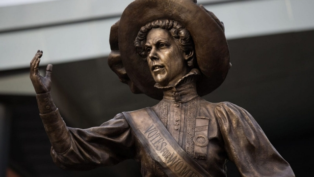 A statue of suffragette Alice Hawkins being unveiled in Market Square, Leicester. (Photo: Aaron Chown/PA)