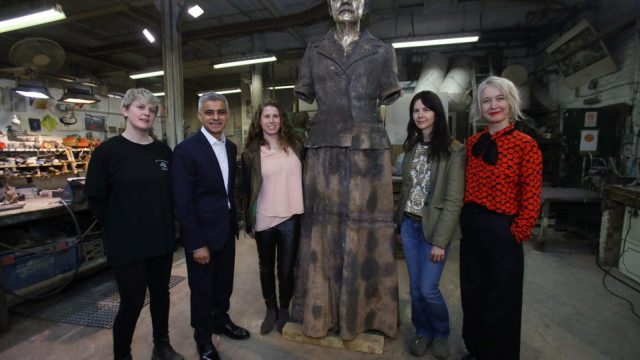 Article thumbnail: (L-R) Technician Chloe Hughes, Sadiq Khan, Caroline Criado-Perez, artist Gillian Wearing, and Deputy Mayor for Culture and Creative Industries Justine Simons, during a visit to AB Fine Art Foundry to see the finishing touches to the Fawcett (PA Wire)