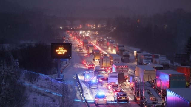 Traffic was stuck on the M80 near Glasgow overnight due to snow (Photo: PA)