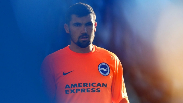 Maty Ryan of Brighton and Hove Albion looks on during the Premier League match against Manchester City