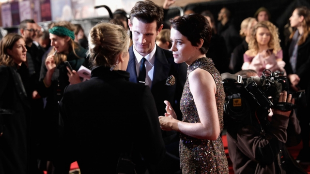 Actors Claire Foy and Matt Smith attend the World Premiere of season 2 of Netflix The Crown at Odeon Leicester Square