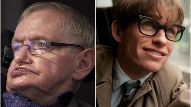 Actor Eddie Redmayne (right) read at the funeral of Prof Stephen Hawking.