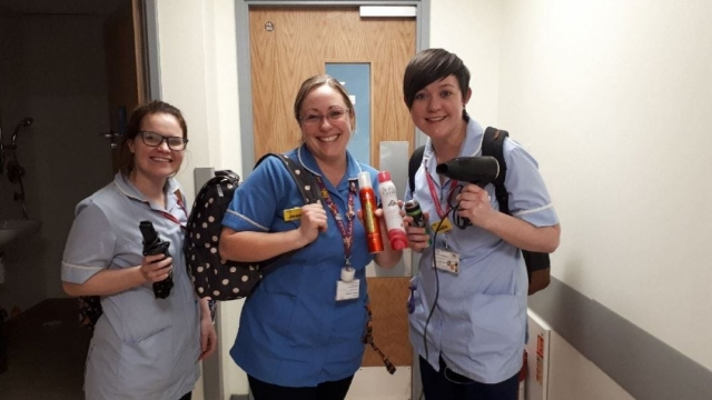 Nurses Kristene Pain, Jennie Richards and Sallie Woodrow stayed the night at their hospital in Greenwich to ensure the adverse weather wouldn't affect their patient care (Lewisham and Greenwich NHS Trust)