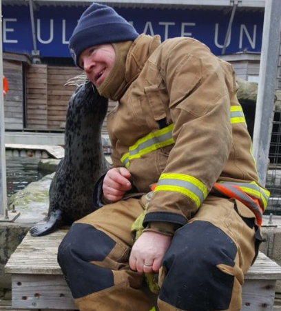 One of the saved mammals shows he is grateful for being rescued at the aquarium in Tynemouth. Credit; Tyne and Wear FRS