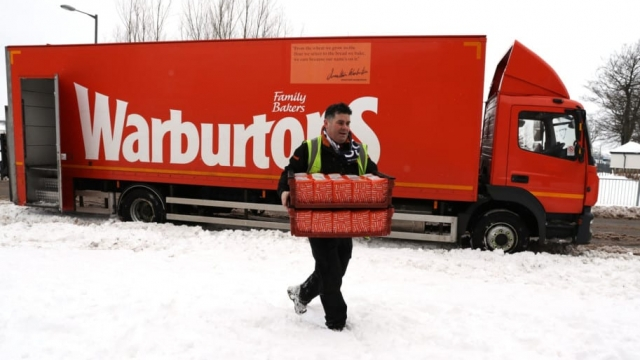 Bread is delivered in snowy conditions to Sainsbury's in Larbert