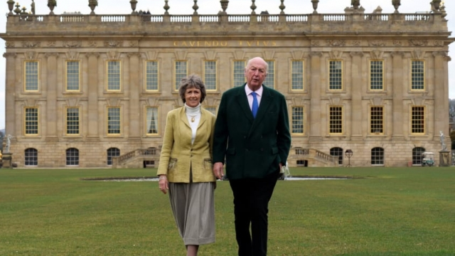 The Duke and Duchess on the South Lawn as the last of the scaffolding is removed from Chatsworth House. The largest renovation in over 200 years is nearing completion in time for the new season opening on 24 March (photo: Yorkshire Post/Scott Merrylees