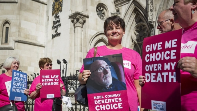 Dignity in Dying of supporters of assisted dying campaigner Noel Conway outside the Royal Courts of Justice in London last year. (Photo: Rob Stothard/PA Wire)