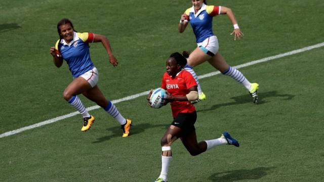 Kenya take on Colombia in the rugby sevens at the 2016 Rio Olympics (Getty Images)
