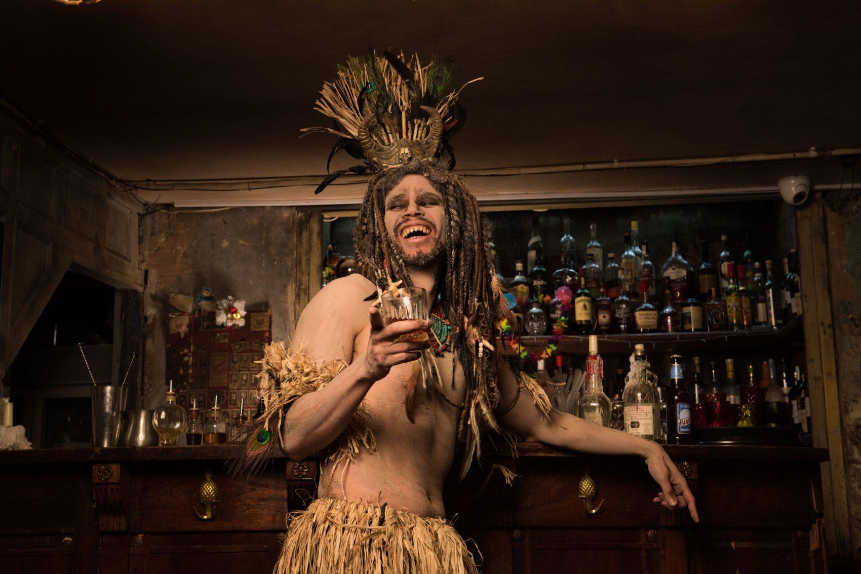 John Macmillan as Voodoo king Professor Lofuko in 'Famalam'. Photo: Des Willie/ BBC3