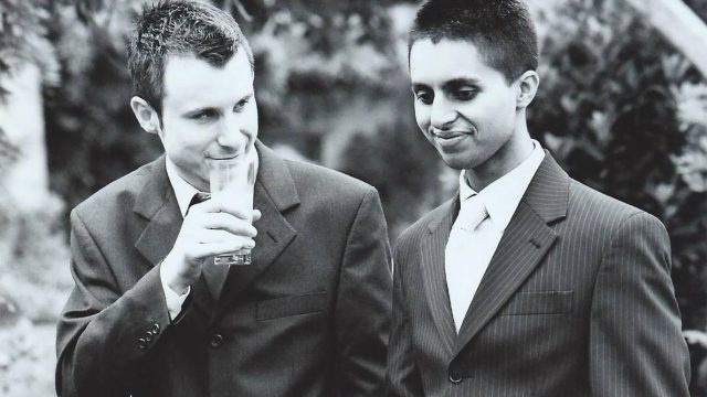 Naz Mahmood and Matthew Ogston at a wedding. Mahmood took his life in 2013 (Naz and Matt Foundation)