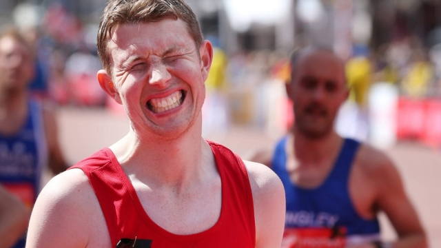 A runner in the London Marathon on 21 April 2013 in London, England.