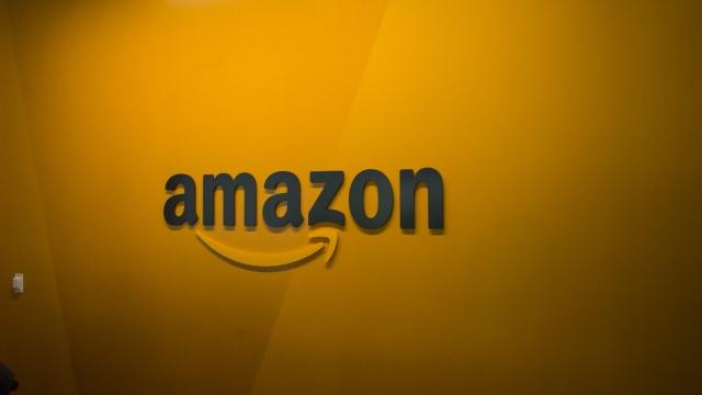 A logo in Amazon corporate headquarters. (Image: Getty)