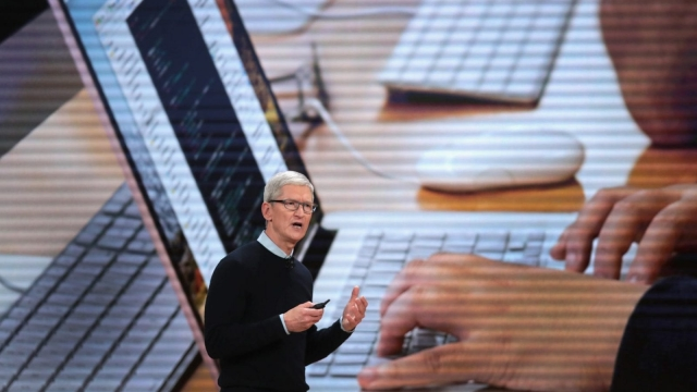 CHICAGO, IL - MARCH 27: Apple CEO Tim Cook introduces Apple's new iPad during an event at Lane Tech College Prep High School on March 27, 2018 in Chicago, Illinois. The device will work with Apple Pencil and is available today. (Photo by Scott Olson/Getty Images)
