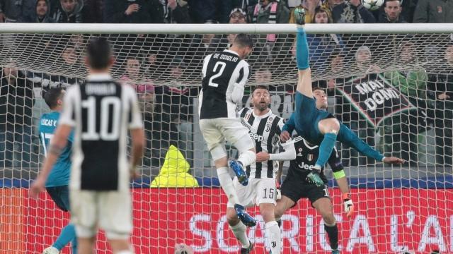 Cristiano Ronaldo scores his stunning overhead kick against Juventus in Turin