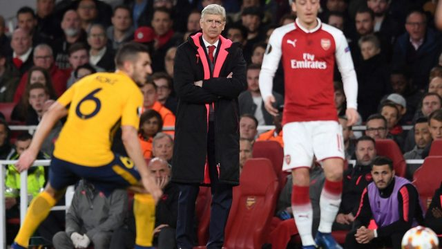 Arsene Wenger looks on during Arsenal's 1-1 draw with Atletico Madrid