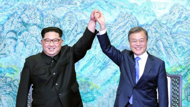 Don't let's get too excited where Kim and Moon are concerned (Photo by Korea Summit Press Pool/Getty Images)