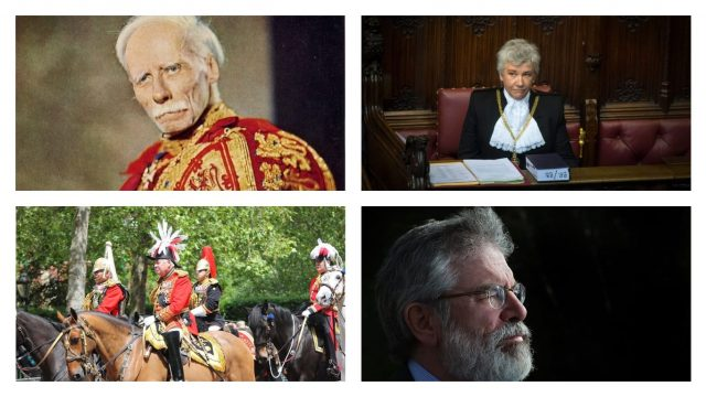 (Clockwise from top left) The Lord Lyon King of Arms, Black Rod, the former Steward of the Manor of Northstead (Gerry Adams) and the Master of the Horse (Photo: Getty/Creative Commons)