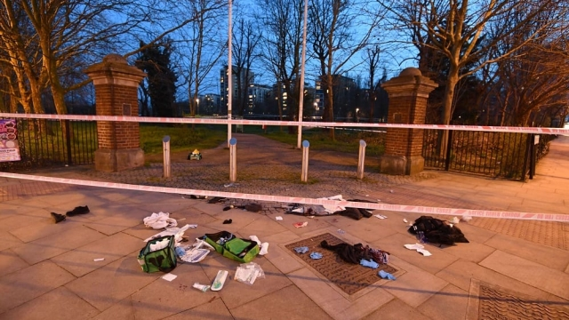 Bloodied clothes on the ground in Mile End, east London, following reports of a stabbing. (Photo: John Stillwell/PA Wire)