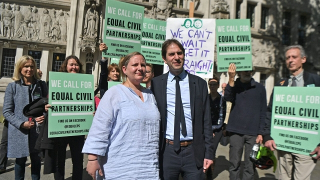 Rebecca Steinfeld and Charles Keidan - the Supreme Court in London, the heterosexual couple who want the right to enter into a civil partnership are taking their fight to the UK's highest court. PRESS ASSOCIATION Photo. Picture date: Monday May 14, 2018. Rebecca Steinfeld, 37, and Charles Keidan, 41, want a legal union through that route but are prevented because the Civil Partnership Act 2004 says only same-sex couples are eligible. See PA story COURTS Partnership. Photo credit should read: Victoria Jones/PA Wire