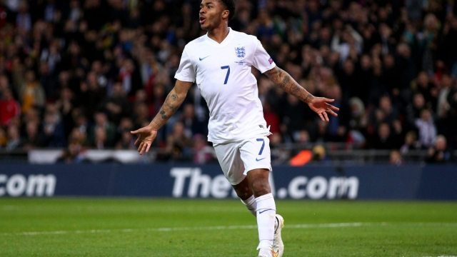 Raheem Sterling of England celebrates scoring against Lithuania at Wembley Stadium on 27 March 2015.