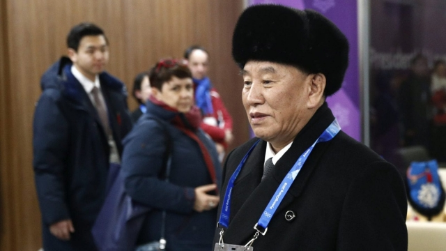 Kim Yong Chol, vice chairman of North Korea's ruling Workers' Party Central Committee, arrives at the closing ceremony of the 2018 Winter Olympics