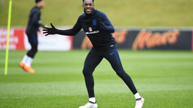 Danny Welbeck reacts during an England training session on 22 March 2018.