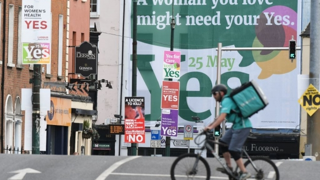 A large Yes poster in Dublin city centre (Photo: Getty)