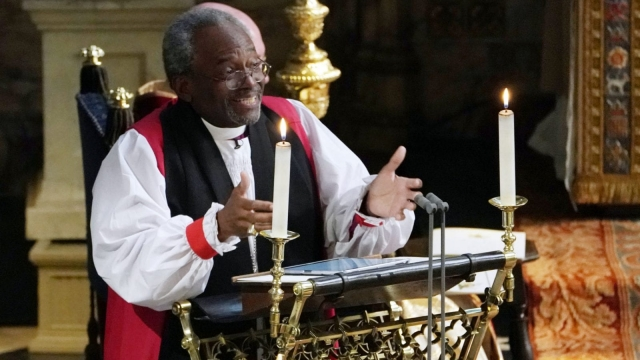 The Most Rev Bishop Michael Curry, primate of the Episcopal Church, gives an address during the wedding of Prince Harry and Meghan Markle (Owen Humphreys - WPA Pool/Getty Images)