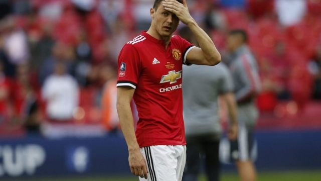 Manchester United's Serbian midfielder Nemanja Matic reacts to their FA Cup defeat on 19 May 2018.