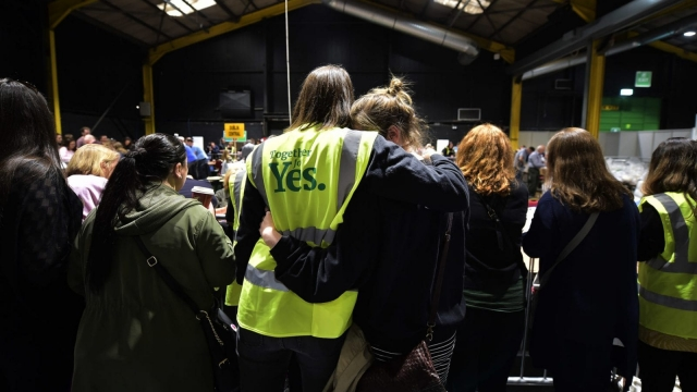 Two women hug one another as the count in the Irish referendum on the 8th amendment concerning the country's abortion laws takes place. Photo: Getty