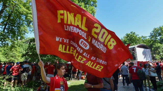Fans of Liverpool who made it are congregating in Shevchenko Park before the UEFA Champions League final between Real Madrid and Liverpool. Photo: Getty