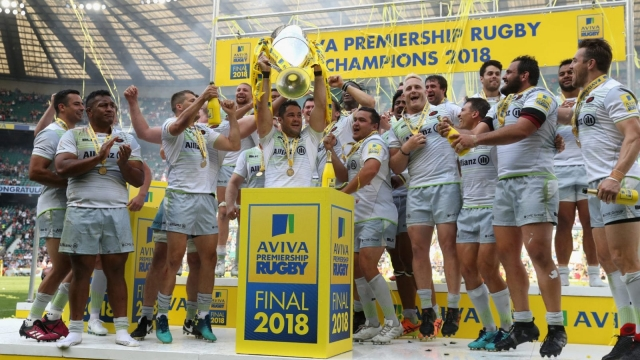 Saracens celebrate their victory during the Aviva Premiership Final on 26 May 2018 during which Mako Vunipola was man of the match.