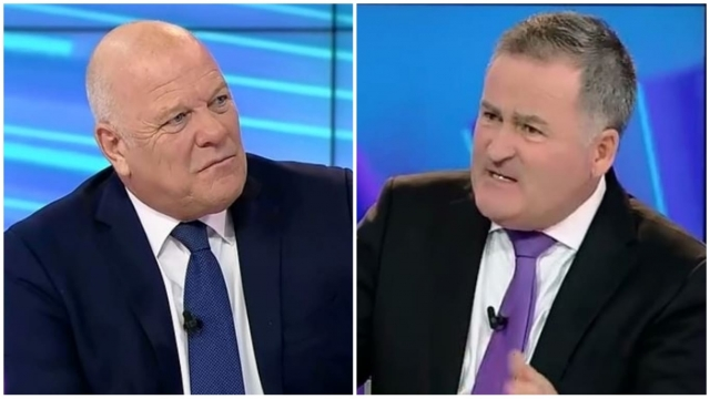 Richard Keys (right) quizzed Andy Gray in the tone of an evangelical minister asking an audience plant how they found god (Screengrab: beIN Sports)