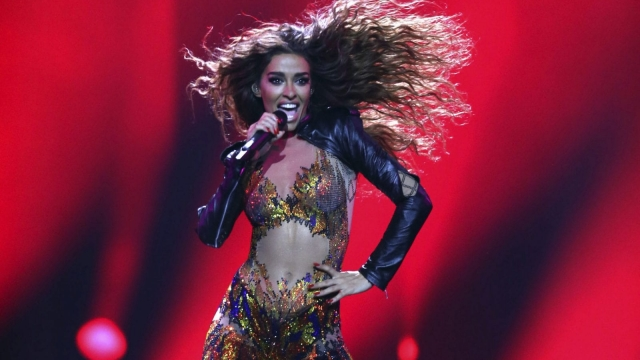 Eleni Foureira from Cyprus performs the song 'Fuego' in Lisbon, Portugal, during the first semi-final for the Eurovision Song Contest. (Photo: AP Photo/Armando Franca)