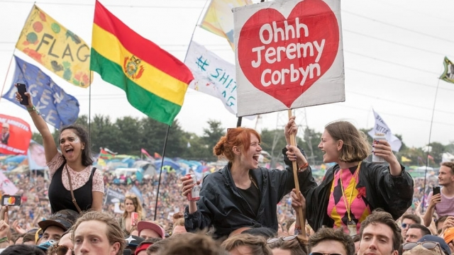 Crowds cheer Labour Party leader Jeremy Corbyn at Glastonbury in 2017. The party is holding its own one-day festival 'Labour Live' in north London in June. (Photo: Matt Cardy/Getty Images)