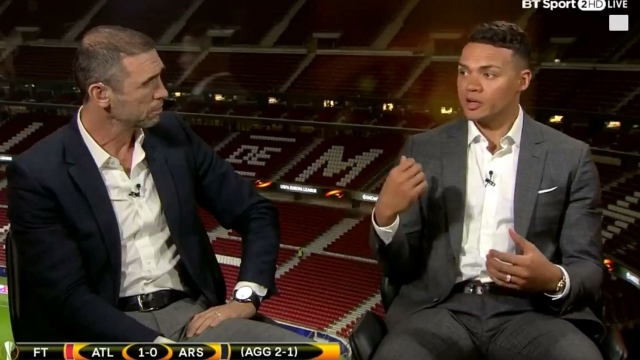 Jermaine Jenas (right) stepped in to defend Mesut Ozil after the Arsenal playmaker was given a severe dressing down by Martin Keown on BT Sport