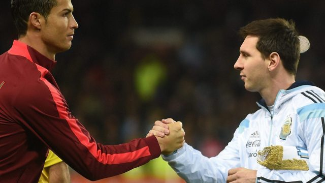 Lionel Messi and Cristiano Ronaldo will both be hoping to take home a World Cup this summer for their countries, and seize the status as the greatest player to play the game. (AFP/Getty Images)