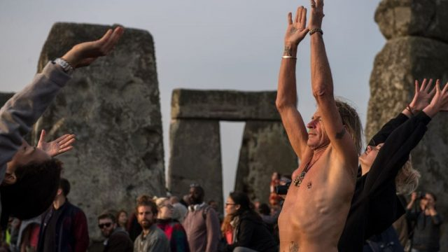 Celebrating the pagan festival of Summer Solstice at Stonehenge (photo: AFP/Getty Images)